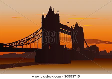 Illustration of Tower Bridge in London at sunset