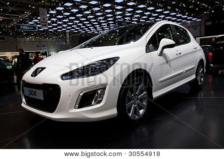 GENEVA - MARCH 8: The Peugeot 308 on display at the 81st International Motor Show Palexpo-Geneva on March 8; 2011  in Geneva, Switzerland.