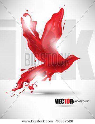 eps10 vector bird ink splat design