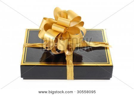 Color photo of a black box and gold ribbon
