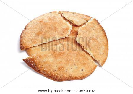 some tortas de aceite, spanish aniseed pastries, on a white background