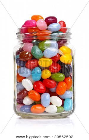 Jelly beans sugar candy snack in a jar isolated on white