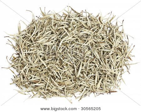 Tea - white tea leaves. Chinese silver needle white tea of premium luxury quality. Bai Hao Yinzhen tea on white background.