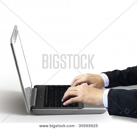 typing male hands ,on a laptop