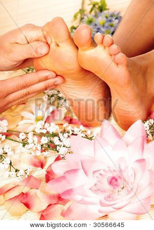 Foot massage. Healthy lifestyle. Skin care.