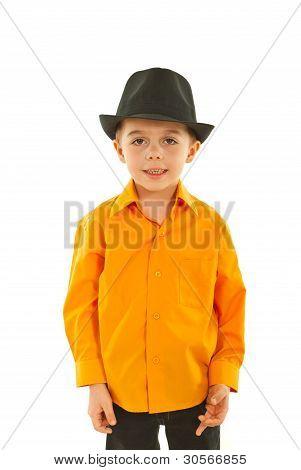 Modern Kid Boy With Black Hat