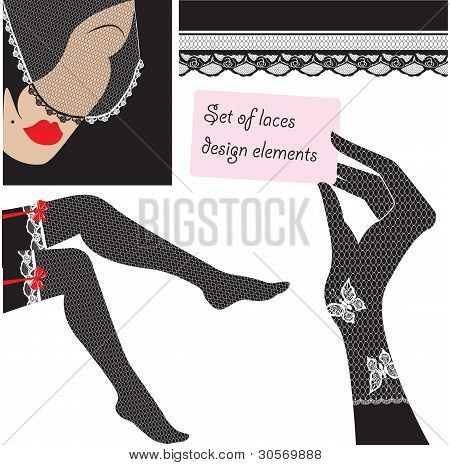 Set of lace elements for design - veil, gloves, stockings