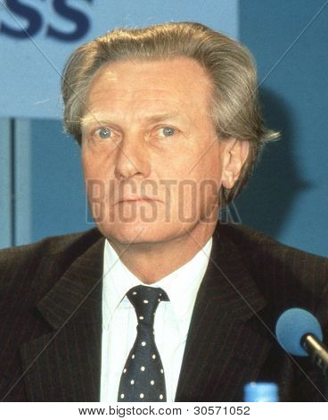 LONDON - APRIL 10: Michael Heseltine, Secretary of State for the Environment, attends a Conservative party press conference on April 10, 1991 in London, England. In 1995 he became Deputy Prime Minister.