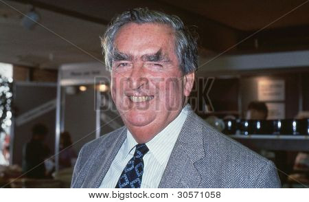 BRIGHTON, ENGLAND - OCTOBER 1: Rt.Hon. Denis Healey, former Deputy Leader of the Labour party, attends the party conference on October 1, 1991 in Brighton, Sussex, England.