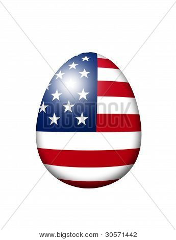 Usa Flag Egg Isolated Over White