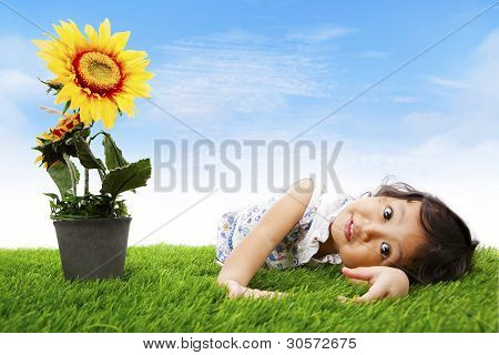Cute Girl With  Sunflower
