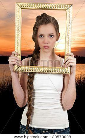 Woamn In A Frame