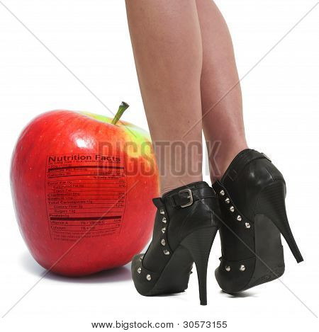 Woman And Red Delicious Apple With Nutrition Label