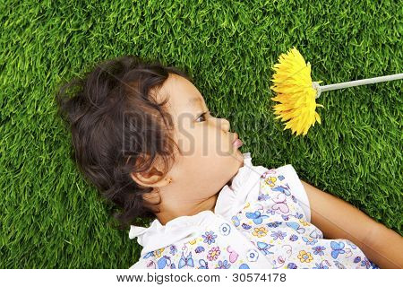 Girl With Daisy Flower