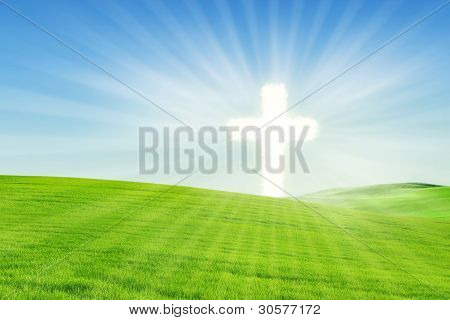 Christian Background: Glowing Cross In Spring