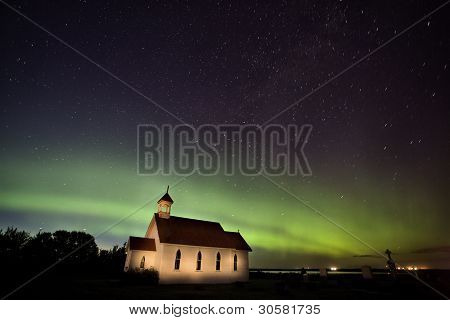 Northern Lights Saskatchewan Canada Church