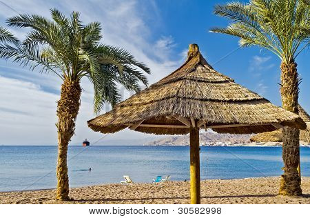 View on the Aqaba gulf (Red Sea) from northern beach of Eilat, Israel