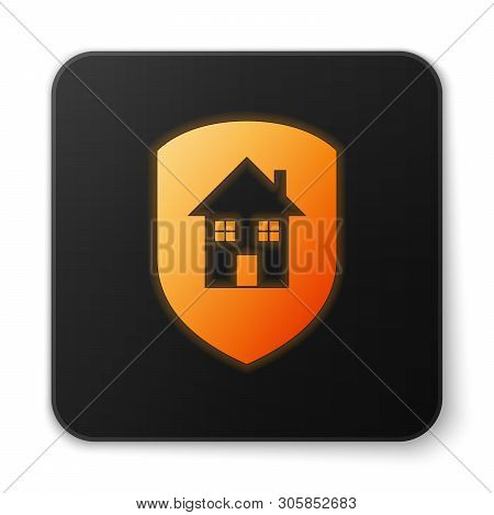 poster of Orange Glowing House Under Protection Icon Isolated On White Background. Home And Shield. Protection