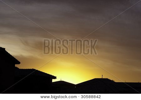 Orange Sunset Over Houses
