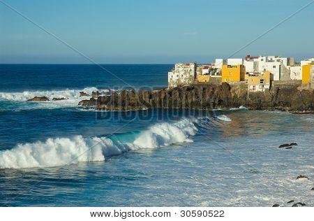 wild coast in  Puerto de la Cruz, Tenerife, Spain
