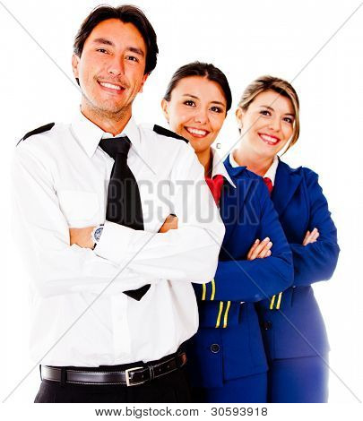 Friendly cabin crew smiling �¢?? isolated over a white background
