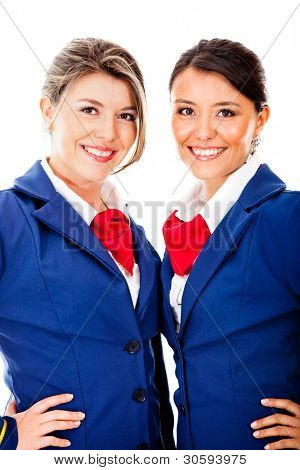 Beautiful flight attendants - isolated over a white background