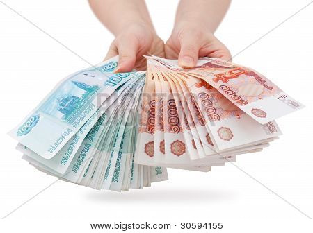 Hands Offer Russian Money