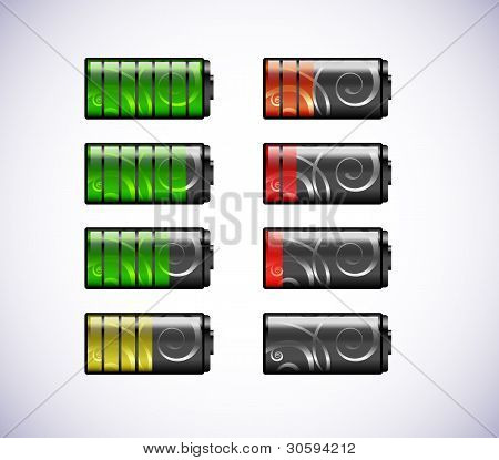 Vector batteries icons.