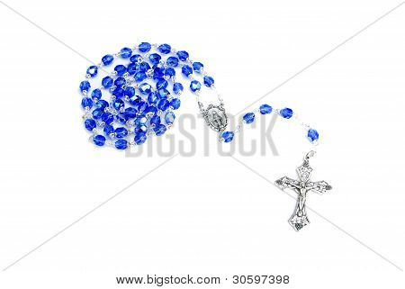 Rosary Blue On White
