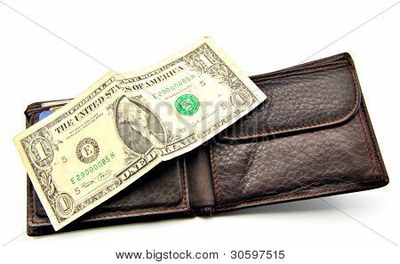 Dollar ticket on leather wallet open