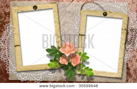 Card For A Photo Or Invitation With Flower On Abstract Background.