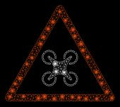 Bright Mesh Copter Danger With Lightspot Effect. Abstract Illuminated Model Of Copter Danger Icon. S poster