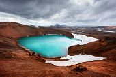Drammatic view of the lake with turquoise water in vulkano crater. Geothermal valley Leirhnjukur, My poster