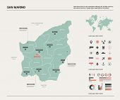 Vector Map Of San Marino. Country Map With Division, Cities And Capital. Political Map,  World Map,  poster