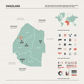 Vector Map Of Swaziland. Country Map With Division, Cities And Capital Mbabane. Political Map,  Worl poster