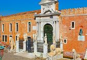 picture of arsenal  - Entrance to Venetian Arsenal with group of amazing sculptures of lions and warriors Italy - JPG