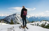 Traveler Girl Hike Alone On Mountains Peak. poster