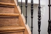 Staircase Handrailing In Old Historic Building. Interior Decor Of Vintage Stairs With Metal Ornament poster