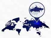 Russia Detailed Map Highlighted On Blue Rounded World Map. Map Of Russia In Circle. poster