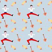 Russian Folk Pattern. Music From Russia. Russian Music Pattern. Seamless Pattern Of Folk Music Instr poster