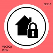 Black House Under Protection Icon Isolated On Red Background. Home And Lock. Protection, Safety, Sec poster