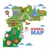 Korea Map Vector Korean Characters Culture Traditional Symbols Sightseeing Landmark Traveling In Sou poster