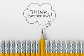 Pencil Tip Standing Out From Croud Of Pencil Rubber Erasers With Think Different Word On Thought Bub poster