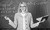 Teacher Woman With Book Chalkboard Background. Why Teacher Quit Off Sick With Stress. Overwork And L poster