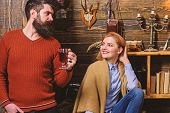 Couple Spend Pleasant Evening, Interior Background. Woman And Man On Smiling Faces Enjoy Cozy Atmosp poster