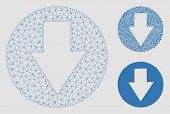 Mesh Down Model With Triangle Mosaic Icon. Wire Carcass Triangular Mesh Of Down. Vector Mosaic Of Tr poster