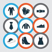 Garment Icons Set With Gumshoes, Belt, Sundress And Other Female Winter Shoes Elements. Isolated  Il poster