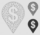 Mesh Dollar Map Pointer Model With Triangle Mosaic Icon. Wire Frame Triangular Mesh Of Dollar Map Po poster