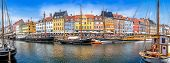 Panoramic View At Nyhavn In Copenhagen, Denmark poster