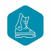 Ski Boot Icon. Outline Ski Boot Vector Icon For Web Design Isolated On White Background poster
